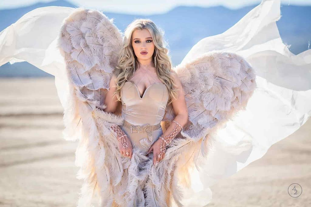 High school senior picture of girl dressed in white wings and a veil