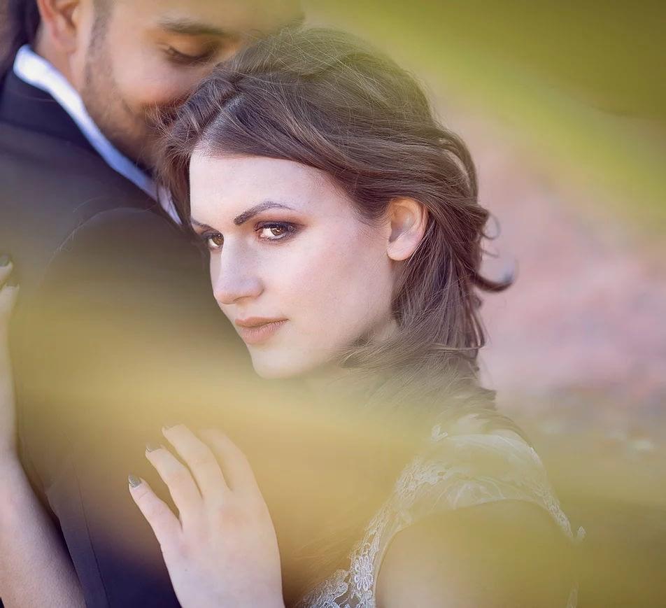 Couple posing for a wedding photography shoot
